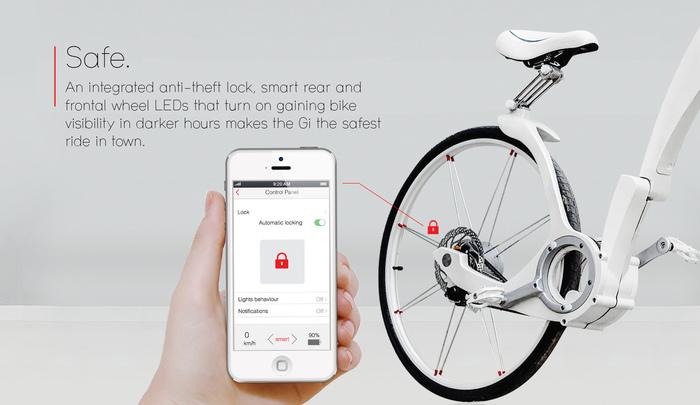 Одна из функций Gi Bike — дистанционная блокировка велосипеда
