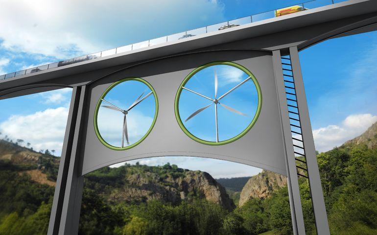 Ветряные турбины, вмонтированные в мост. Facepla.net последние новости экологии