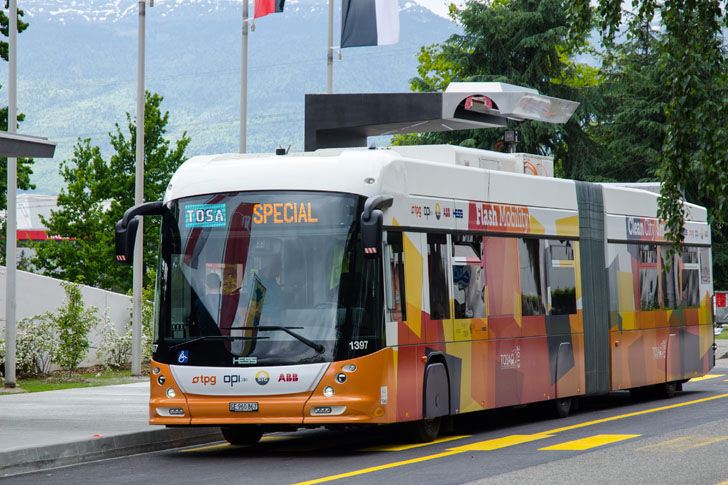 Новые электроавтобусы Женевы заряжаются за 15 секунд