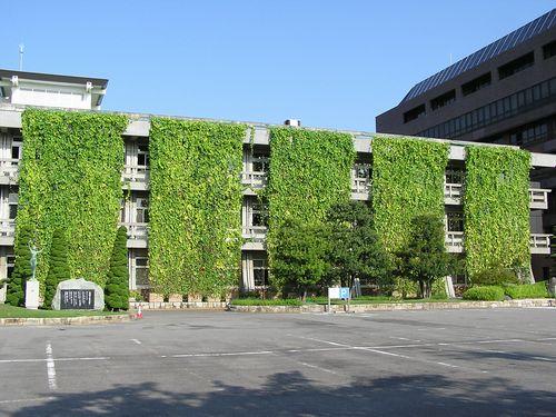 Зеленые занавески на здании в городе Anjo префектуры Aichi, Япония