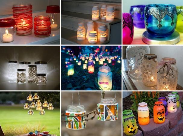 Необычные светильники изстеклянных банок