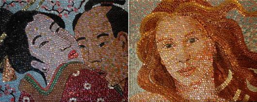 Портреты Молли Райт из крышек от бутылок