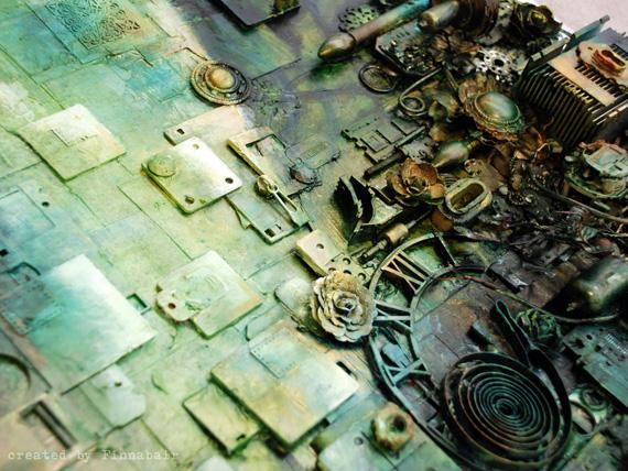 Художественный коллаж из электронных отходов в стиле стимпанк